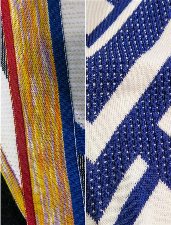 神秘针织 图案针织从热带自然汲取灵感,蓝紫色营造超现实迷幻背景。动植物图案更显数字图像性,融入间断像素提花,或阴影轮廓。金属光泽织物焕发着神秘的彩虹色、银色、蓝色、绿色、紫色在其中交替。针织结合聚酯胺长丝或闪光涂层,通过渐变色条纹和精致的缝线增强效果,形成闪烁的珍珠光泽。  拼接混搭 针织采用简约设计,平面色彩和特殊亮色升级面料。精细罗纹和几何形针织呈现立体感,使用光洁棉布、哑光粘胶纤维和尼龙制作。立体浮雕效果的土耳其结构或褶皱设计采用对比色,再用细距针打造丰富的视觉效果。